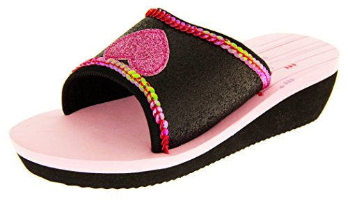 De Fonseca Niñas Chanclas de Verano Sandalias Zapatos de la Playa Negro Con Brillo Rosa Corazón