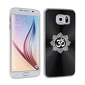 Samsung Galaxy S6 Edge Aluminum Plated Hard Back Case Cover Yoga Hindu Om Floral (Black)