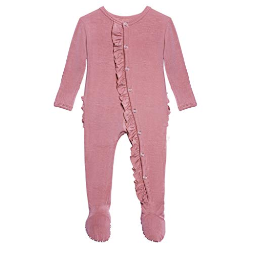 Posh Peanut One Piece Elegant Baby Romper Buttery Soft & Breathable Viscose from Bamboo - Premium Knit Baby Girl Clothes (Dusty Rose, Newborn)