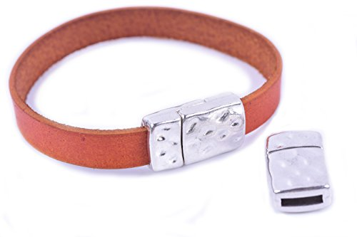 KONMAY 5 sets 10.0x2.0mm Antique Silver Dotted Magnetic Clasp For Flat Leather Cord
