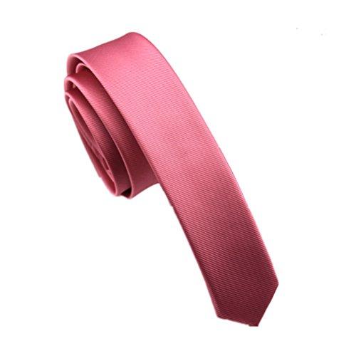 Elviros Mens Solid Color Eco-friendly Fashion Skinny Tie 1.6'' (4cm) Antique Pink (Antique Tie Mens)