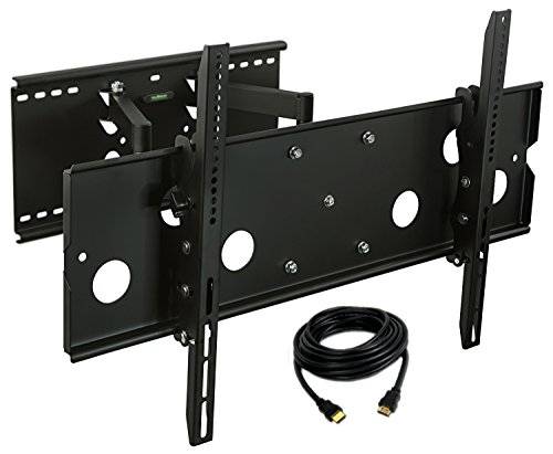 Mount-It! Heavy Duty Full Motion TV Wall Mount, Large Articulating Television Wall Mount, Fits LCD LED Plasma flat screen curved TVs up to 175 lbs, HDMI Cable INCLUDED ()