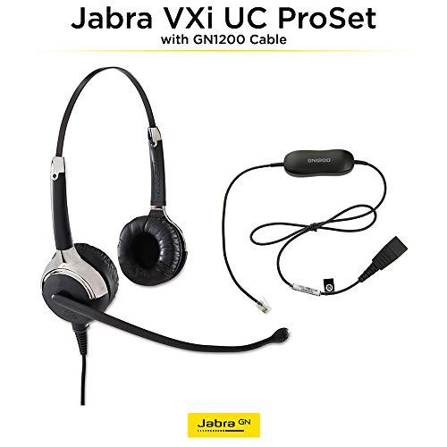 Binaural Overhead Cord - Jabra VXi UC ProSet Premium QD Overhead Binaural Corded Headset with GN1200 SmartCord