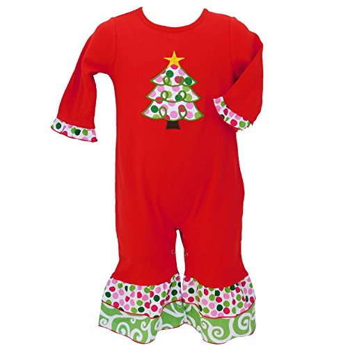 AnnLoren Boutique Baby Girls Christmas Romper Red Polka Dot Tree Infant Holiday Onesie Toddler Clothes sz 12-18 mo (Annloren Outfit Tree Christmas)