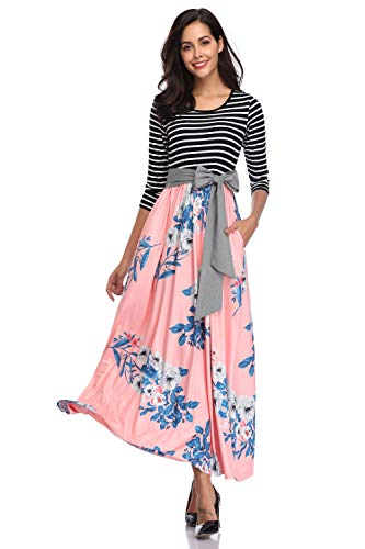 Floral Striped Tie - kefirlily Womens 3/4 Sleeve Striped Floral Print Patchwork Tie Waist Maxi Dress with Pockets Pink