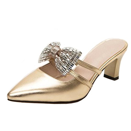 Sandales RAZAMAZA Pointu à Gold Bowknot Enfiler Bout Femmes pq87pR