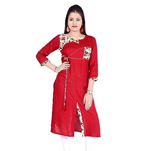 Chichi Indian Women Kurta Kurti 3/4 Sleeve Large Size Printed Straight Red Top by CHI