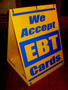 Price comparison product image WE Accept EBT Cards Sandwich Board Sign A-Frame Kit New Blue on Yellow Business,  Nostalgic,  Retro,  Vintage and Funny Signs
