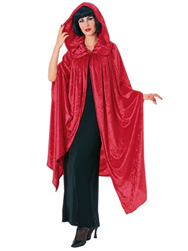 Hooded Crushed Red Velvet Cape Costume for -