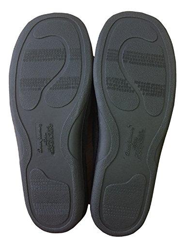Dearfoams Mens Microfiber Terry Clog with Memory Foam Slippers Black/Grey Tlo8d