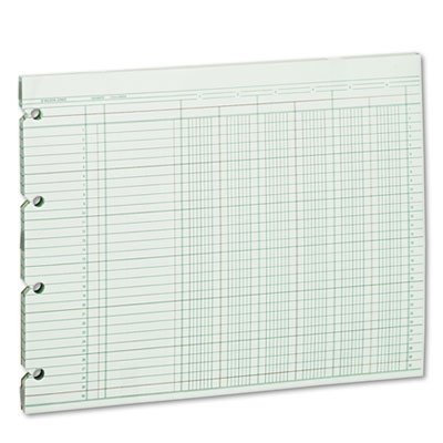 Accounting Sheets, Six Column, 9-1/4 x 11-7/8, 100 Loose Sheets/Pack, Green, Sold as 2 Package