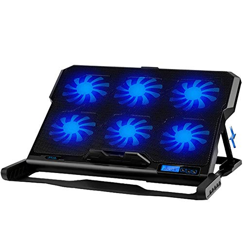 LCD Laptop Cooling Pad 6 Quite Fans Notebook Cooler Pad Dual USB Powered, LED Light, 6 Level Adjustable Mount Stands