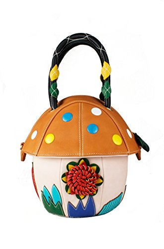 Redfox Adorable Medium-Sized Mushroom Shape Bucket Shoulder Bag Women's Handbag 24cm x 22cm x 13.5cm Pink