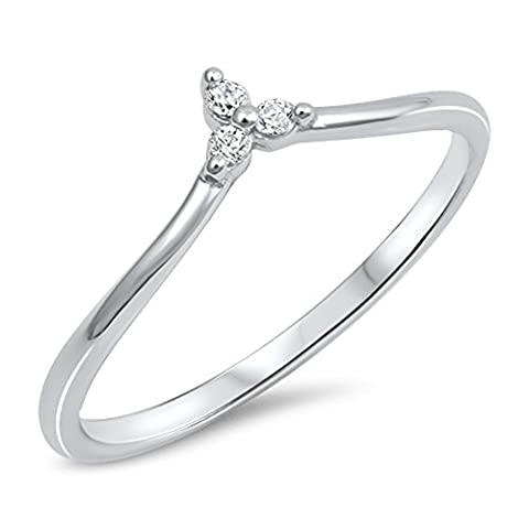 Round White CZ Pointed Chevron Flower Ring .925 Sterling Silver Band Size 5 (RNG17651-5) (Chevron Cz Ring)