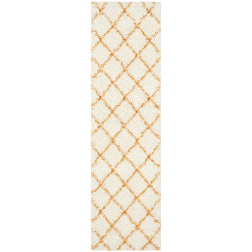 Safavieh Moroccan Shag Collection MSG343F Ivory and Tangerine Runner (2'3