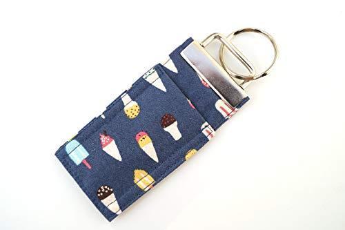 Blue Ice Cream Treat Chap Stick Holder Key Chain