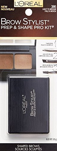 L'Oreal Stylist Prep and Shape Brow Liner Kit, 386 Light to Medium (Pack of 2)