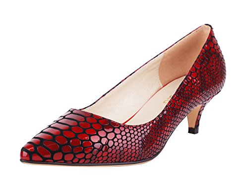 quality free shipping big sale online Verocara Women's 1.77inch Kitten Heel Pointy Toe Genuine Leather Evening Dress Pumps Raspberry fOICJ8hi