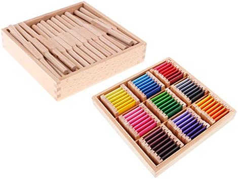 Toygogo 感覚教材玩具-45木製シャトルセット&63色学習カードビッグボックスセットキッズ早期教育玩具