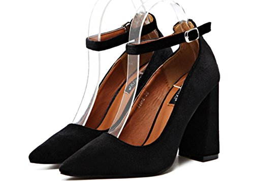 YCMDM Velvet Donne Zipper Buckle punta bocca superficiale alti calza scarpe di moda Singolo , black , 39