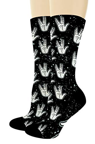 Nerdy Gifts for Sci Fi Fans Greeting Socks Sci Fi Socks Space Themed Gifts 1-Pair Novelty Crew Socks