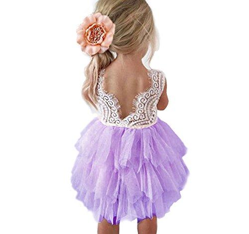 Backless A-line Lace Back Flower Girl Dress (9-10Y, Purple)