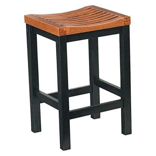 Home Styles Black and Cottage Oak Bar Stool, 24-inch High, Solid Hardwood Construction, Contoured Comfortable Seat