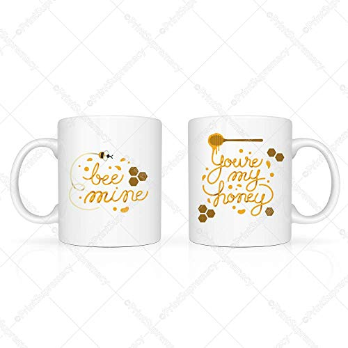 Bee Mine & You're My Honey-Mugs For Couple,Valentines Day Gift,Engagement Gift For Couple,Anniversary Coffee Mug,Birthday Presents,Fun Novelty Gift,Wedding Mug Set,Girlfriend/Boyfriend Coffee Mug Set ()