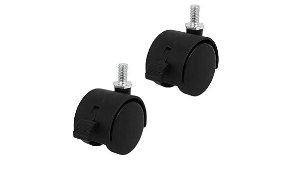 eDealMax 8 mm x 15 mm Con rosca del vástago DE 1, 5 pulgadas Diámetro de la rueda giratoria Freno Caster Negro 2 piezas Para la Silla: Amazon.com: ...