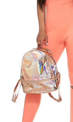 Mini Forplay - Forplay Women's Iridescent Mini Backpack, Rose Gold, O/S