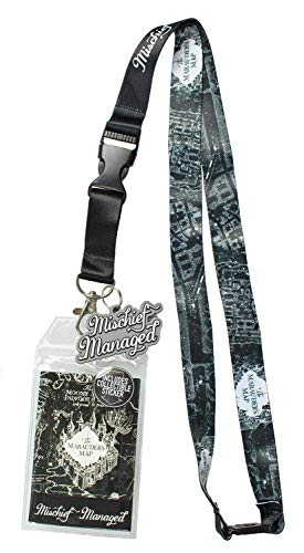 (Harry Potter Mischief Managed Marauders Map ID Lanyard Badge Holder with 2