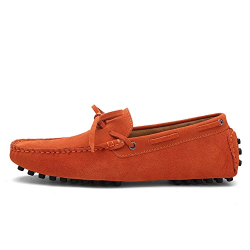 Tentoes Mens Round Toe With Bow Genuine Leather Loafers Orange AZt6XdR