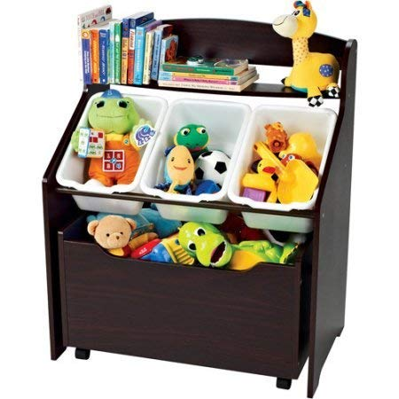 Tot Tutors 3-Tier Storage Unit with Rollout Toy Box Espresso