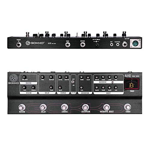 GOKKO AUDIO MX300 Multi Effects Pedal 6 Analog Effects Reverb Delay Chorus Distortion Overdrive Boost Pedal with Adapter