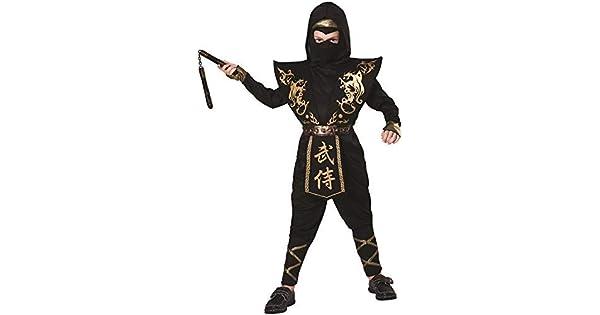 Amazon.com: Disfraz de Samurai Warrior de oro negro de Ninja ...