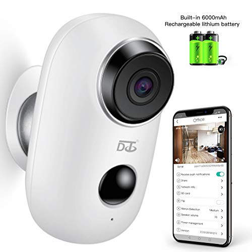 (Wireless Security Camera, WiFi Camera Battery Operated with Two-Way Audio, IR Night Vision, PIR Motion Sensor& SD Card Socket, Surveillance Camera Indoor/Outdoor/Baby/Pet)