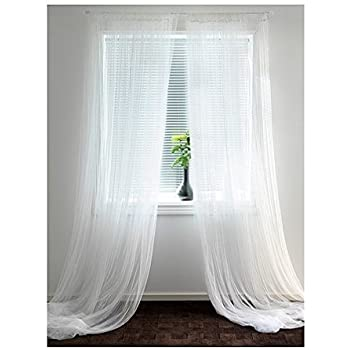 Ikea Lill Sheer Curtains 2 Panels 98 X 110 (1 Curtain Pair, White)