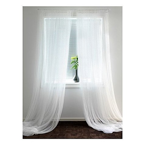 sheer lace curtain panels - 3