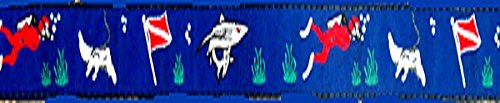 Scuba Diver Background Dog Collar 1 Inch Wide, Variety of Designs and Sizes, Matching Leash Available (M 14