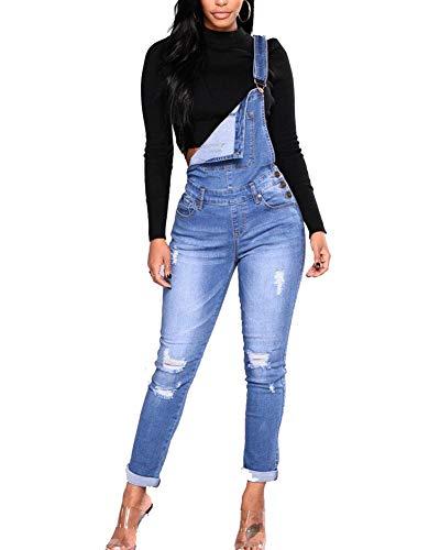 Jeans Guiran Femmes Bleu Denim Pantalon Up Salopettes Dchir Combinaisons Skinny Clair Push EqEdfwrxC