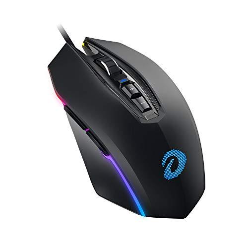 DAREU Gaming Mouse Wired 7 Botones programables RGB Chroma Retroiluminado 6 DPI Configuración Hasta 10000 DPI Cómodo agarre Ergonómico Óptico Ratón para PC portátil Juegos de computadora y trabajo -NegroEM925