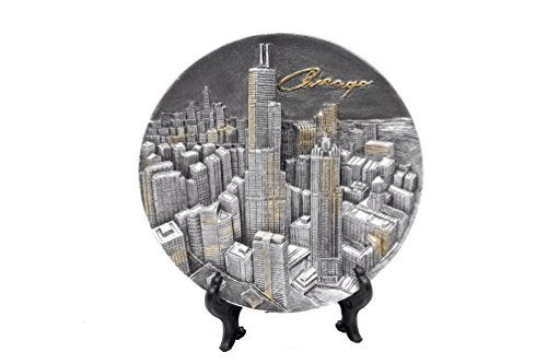 Chicago Souvenir 3D Pewter Collectors Plate with Elevated Cityscape(4.75 - Illinois Hancock Chicago Building