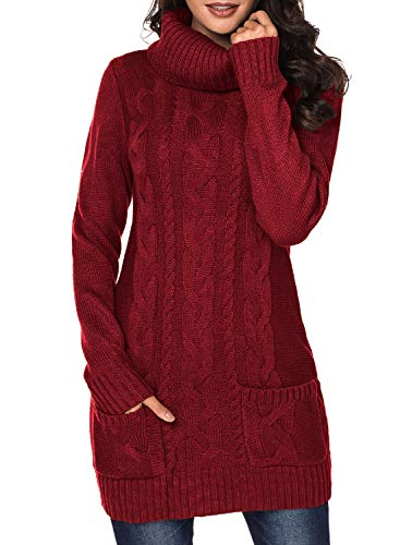 Eytino Women Knit Stretchable Elastic Cowl Neck Long Sleeve Slim Fit Long Sweater Jumper,Large Red (Boots Sweater Dresses)