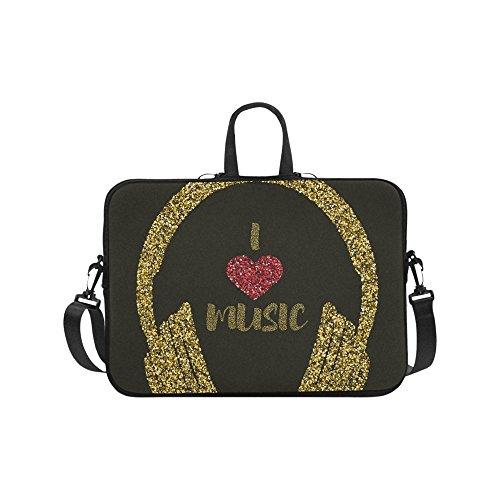 (Laptop Sleeve Case 11 11.6 Inch I Love Music Gold Resistant Neoprene Laptop Sleeve Notebook Computer Pocket Case Tablet Briefcase Carrying Bag Laptop Shoulder Bag)