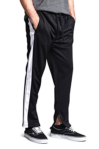Victorious G-Style USA Men's Side Stripe Ankle Zip Regular Fit Stretch Drawstring Track Pants TR503 - Black/White - X-Large - DD5C by Victorious