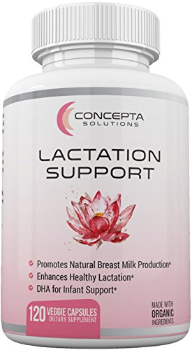 Lactation Aid Support Breastfeeding Supplement - Natural Increased Breast Milk Supply and Flow with Organic Goat's Rue, Fenugreek, Milk Thistle, DHA and Fennel Seed - 120 Veggie Caps (60 Day Supply) - Fenugreek Seed 90 Caps
