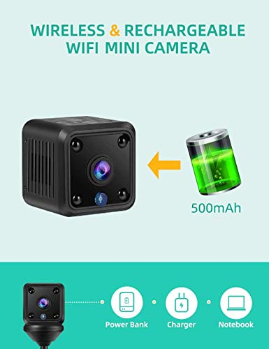 Hidden Spy Camera, Wireless Mini Security Nanny Camera with Night Vision and Motion Detection, Built-in Battery, No WiFi Need, Wireless Technology for Phone App Monitor (M1)