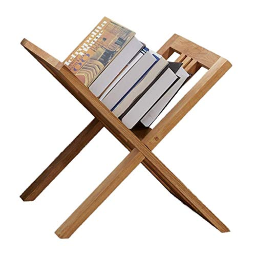 HEMFV Oak Wood Magazine Holder, Newspaper Rack Handles, Compact, Freestanding, Natural (Freestanding Oak Magazine Rack)