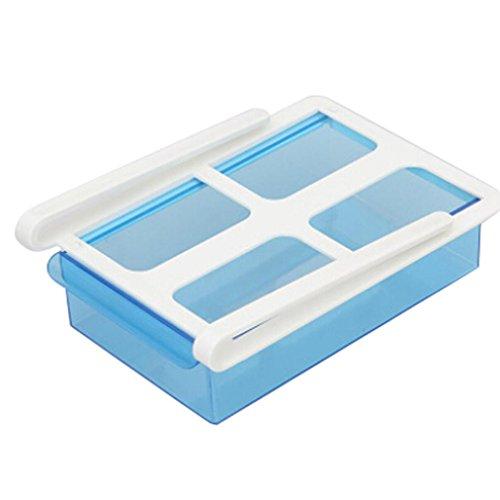 Iusun Box Refrigerator Storage Box, Slide Fridge Freezer Organizer Refrigerator Storage Rack Shelf Drawer (Blue)
