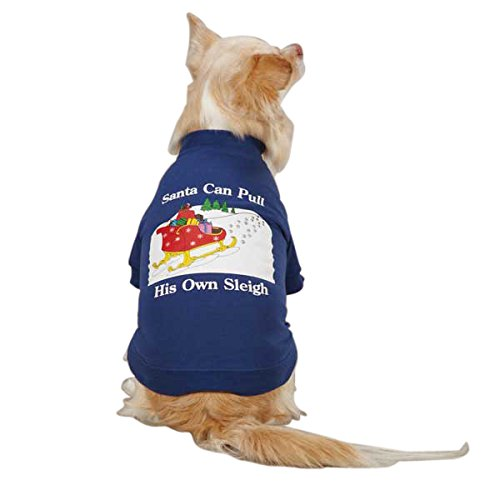 Santa Dog Tank - Zack & Zoey Polyester/Cotton Dog Santas Sleigh Tee, Medium, Navy